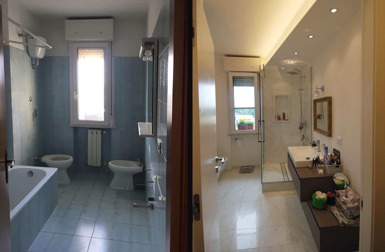 il bagno: prima e dopo