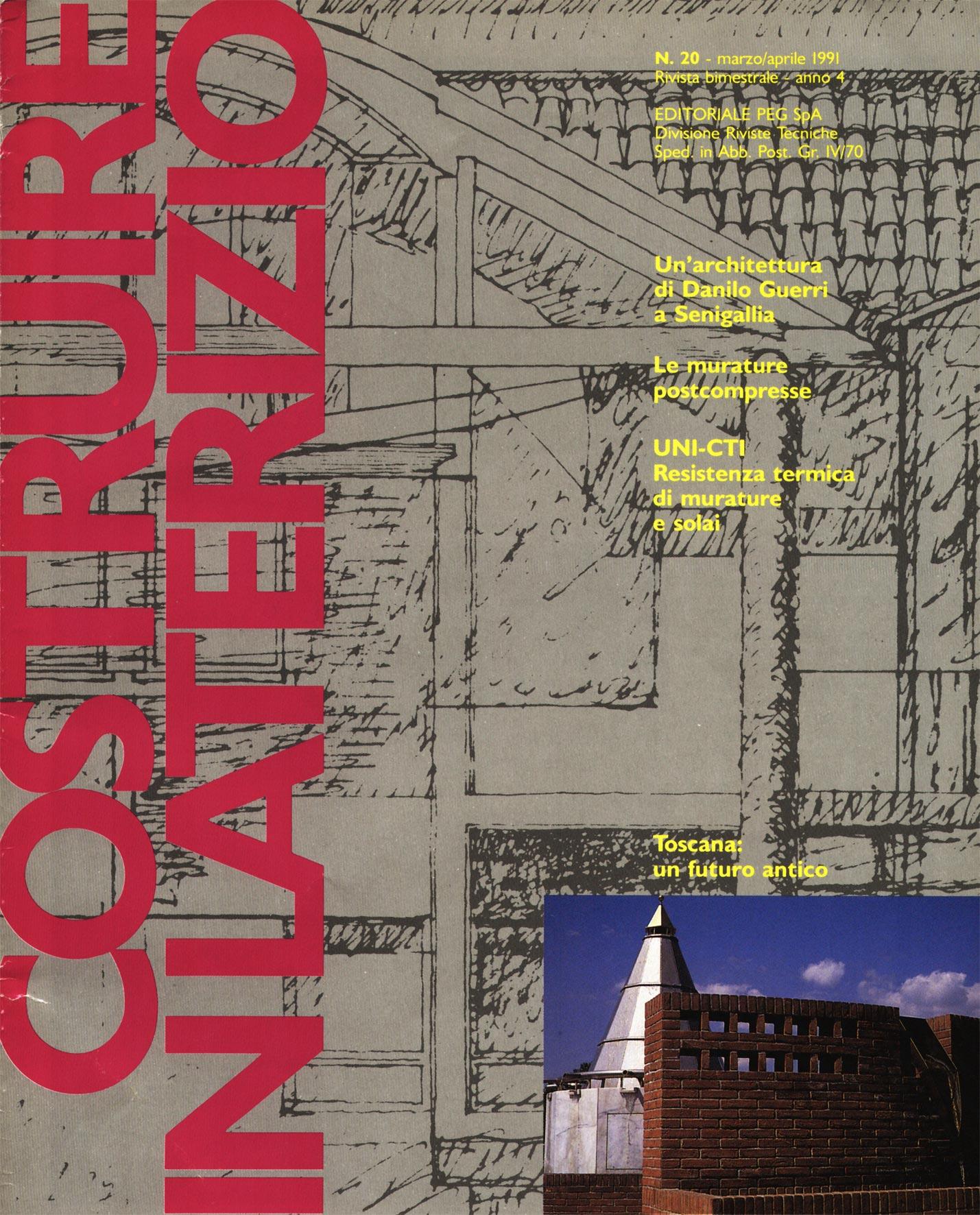 """""""Costruire in laterizio"""", n°20, MArzo/Aprile 1991, Editoriale Peg Spa"""